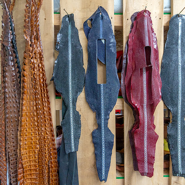 Exotic leather hides in an Indiana leather craftsman's shop