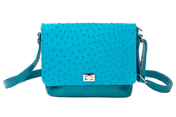 Teal Ostrich Leather Purse