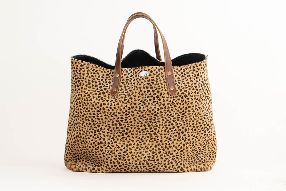 Leopard skin print leather purse