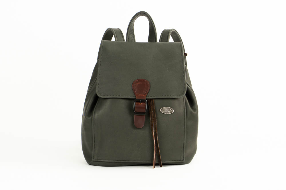 Dark Gray leather backpack purse